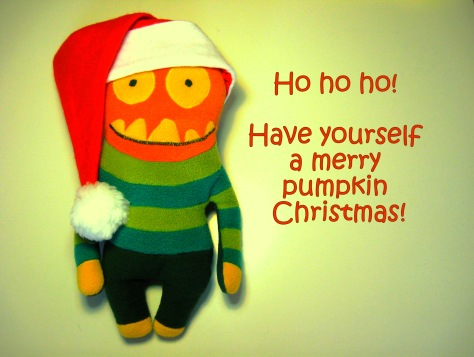 Santa Pumpkin - fleece doll by Sandra Lightburn
