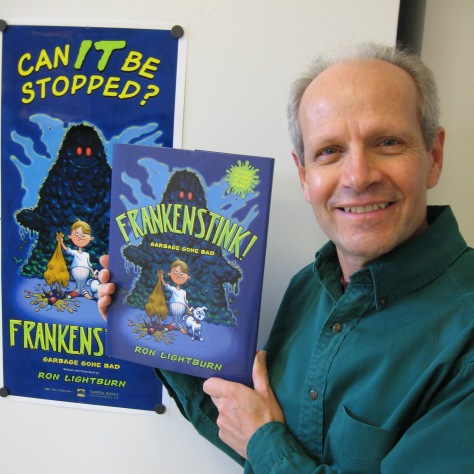 Ron with his advance copy of FRANKENSTINK! Garbage Gone Bad.